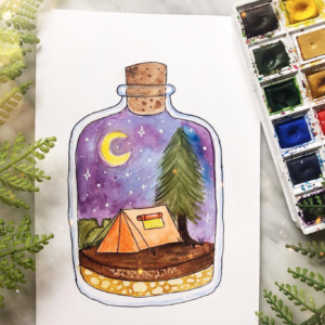 Original art camping in a bottle