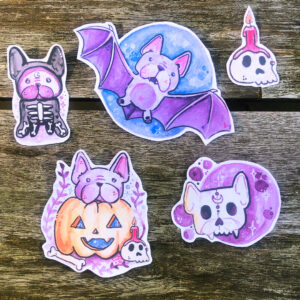 Halloween Frenchie Sticker Set